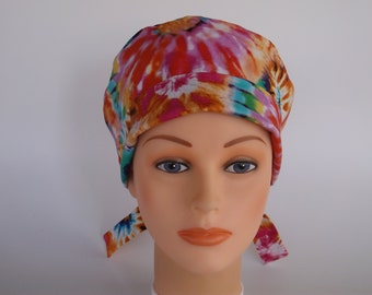 Tie Dye Tie Back - Womens lined surgical scrub cap, Chemo hat, Bakers hat, Nurse scrub hat, 51+1840 W