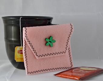 Pale Pink Tea Tote, Reusable Tea Pouch, Tea Accessory, Tea Bag Carrier, Felt Tea Wallet, Tea Bag Pouch, Easter Gift