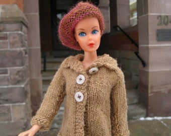 Barbie Doll Knitting Pattern, Camel Coat