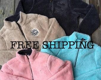 Sherpa Fleece Pullover Sweatshirt - Quarter Zip Fleece - Monogrammed Apparel - Charles River Apparel FREE EMBROIDERY