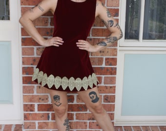 Vintage Burgundy Velvet Boned Tunic Dress