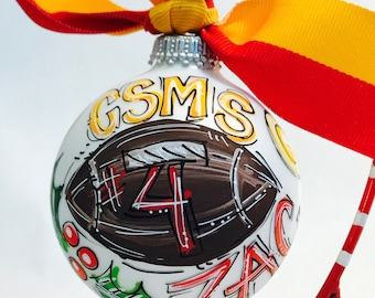 Football Ornament, Personalized, Hand Painted