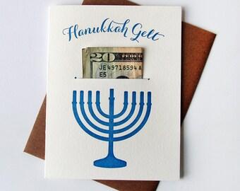 Letterpress Holiday card - Hannukah Gelt - Money Holder