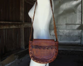 Vintage Early 1970's Hand Tooled Leather Boho Hippie Shoulder Bag Purse Handbag