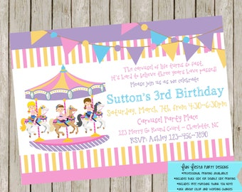 Carousel party invitation and thank you note set