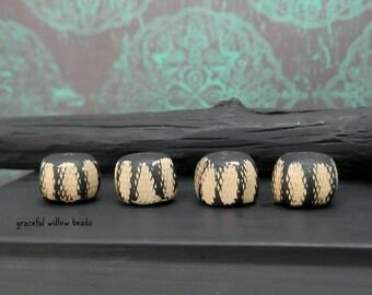 SALE - Rustic Khaki Tan Black Polymer Rondelle Cord Bead - Handcrafted Bead - 12x7mm - Pkg. 4