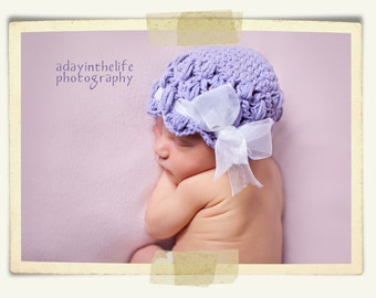 Lacy Hat with Shell Edge pdf PATTERN newborn to adult sizes, cloche, beanie to crochet, photo prop, digital download