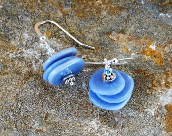 Blue Disc and Sterling Silver Handmade Lampwork Disc Dangle Earrings.  Unique and Original Periwinkle Blue Jewelry.  Made in Canada