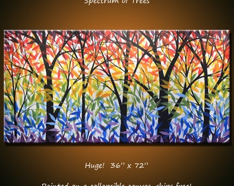 "Extra large wall art / Huge Art Rainbow Painting Modern Landscape ""Spectrum of Trees"", 36"" x 72"" Living room art... free US shipping"