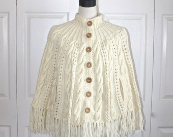 1960s Ivory Knit Sweater Cape Poncho . Vintage 60s 70s Acrylic Cream Cable Knit Cape with Fringe . Size Small Medium
