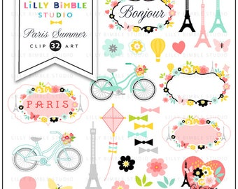 Paris Clipart with the Eiffel tower, travel, romantic, Modern Scrapbook, labels, frame, flowers, bicycle, French Instant Download