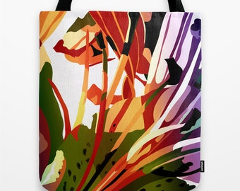 Art Tote Bag Canvas Tote Bag Tote Bag 16 x 16 inches Orange Tote Bag Pretty Tote Bag Book Tote