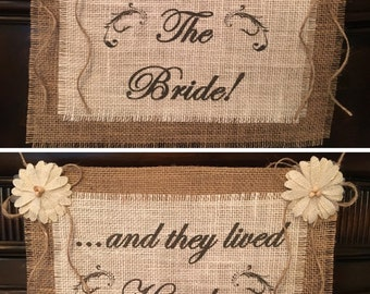 Primitive Reversible Here Comes The Bride / Happily Ever After White/Ivory Burlap Flower Girl Ring Bearer Banner Sign Rustic Barn Wedding