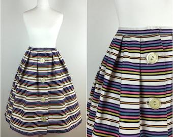 Vintage 1950s Stripes and Pleats Skirt - 50s Button Skirt - Swing Full Circle Skirt Cotton Sateen - Rockabilly Skirt - UK8 US4 EU36 Small
