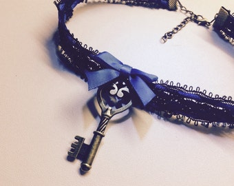 Cute black and blue choker collar , with key pendant. Kitten  play.