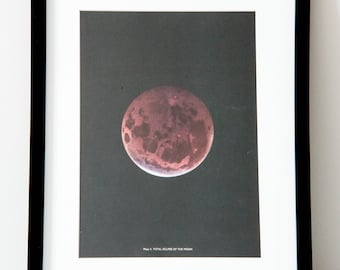 Framed 1959 Vintage Moon/ Lunar Eclipse Print