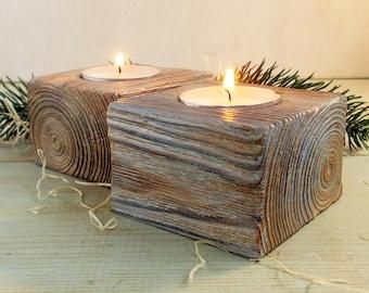 Rustic Wood Tea Light Candle Holder 2 Tealight Holder Unique Home Decor  Wooden