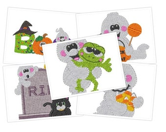 Embroidery Pattern, embroidery designs, machine embroidery, digital file Boo, Halloween 5'' hoop ,embroidery design set
