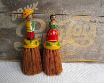 Vintage Clothing Brush Mexican Figures Man and Woman Hand Painted
