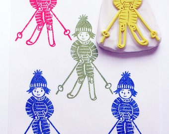 skiing stamp | skier rubber stamp | winter sports stamp | diy christmas birthday card making | holiday crafts | hand carved by talktothesun