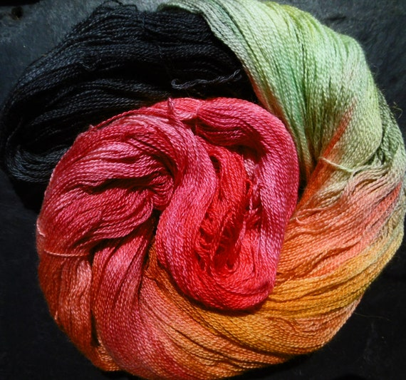 Baby Alpaca 30% Mulberry Silk Laceweight 2ply Yarn Elvincraft Hand Painted Red Dragonfly