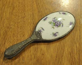 ANTIQUE MIRROR Handheld Mirror Victorian Mirror Vintage Mirror Porcelain Mirror Hand Mirror Victorian Porcelain Hand Mirror Vintage Brass