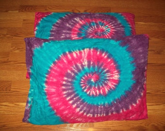2 Tie Dye Pillow Cases- Set of 2- Cotton Candy, tie dye sheets, bedding, pillow tie dye pillowcases