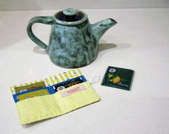 Tea wallet - Tea bag Holder - Travel tea container - Tea caddy - Tea bag storage - Tea envelope - Tea wallet - Gift for tea lover
