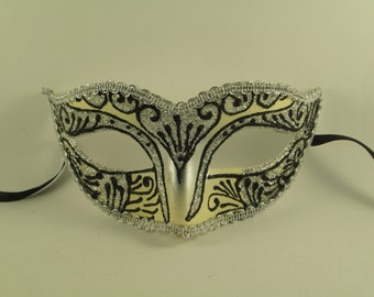 Masquerade Mask Women Silvery Half-face Mask Black Ornaments Party Mask