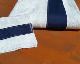 Hooded Bath Towel-Baby Size Hooded Towel Set with Navy Solid Trim