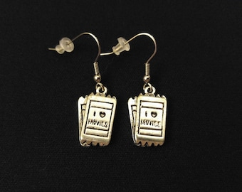 MOVIE TICKETS Charm Earrings Stainless Steel Ear Wire Silver Metal Unique Gift