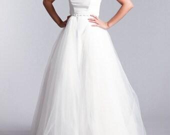 Bridal over skirt, Long tulle skirt, Tulle over skirt, Long bridal  skirt in white or Ivory