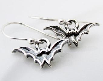 Tiny Sterling Silver Bat Earrings, Halloween Bat Jewelry, Cute Halloween Jewelry, Jewelry For Halloween, Flying Bat Charm Earrings