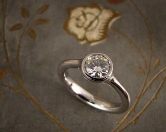 Custom for Jeff - Low-Profile Solitaire in 14K white gold