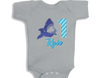 Personalized Birthday Shark Metallic Bodysuit