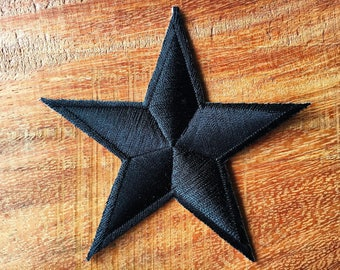 New Black Nautical Star Symbol US Navy Embroidered Iron on Patch