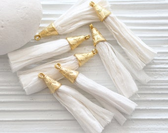 White silk tassel, sari silk tassel, white sari silk tassel, off white tassel, tassel earrings, jewelry tassels, tassel, gold cap, N4