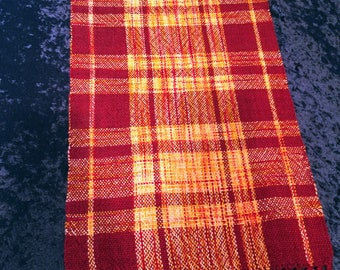 Red Table Runner, Orange Table Runner, Hand Woven,  Wedding Gift, dresser scarf, dinner table, accessory, table runners, Buffet Table Cloth