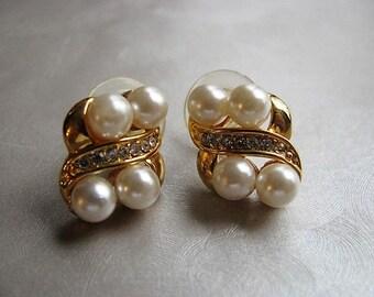Pearl Post Earrings with Bezeled Crystals  - Vintage Pearl Stud Earrings