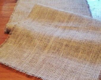 Natural Burlap Table Runner with Fringed Edge - Various Sizes