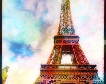 Eiffel Tower Photography, Paris Wall Art Print, Eiffel Tower Pastel, Eiffel Tower Wall Art, Romantic Paris Art Pink Eiffel Tower Decor