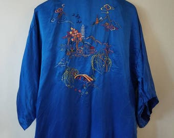 Vintage Embroidered Silk Robe