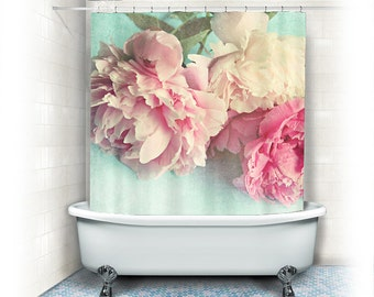 """Peony Shower Curtain """"Like Yesterday"""",aqua, pink, bathroom,home decor,pastel flowers,Peony,nature,floral shower curtain,shabby chic"""