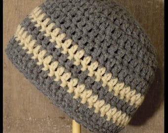Infant Stripe Beanie- 100% acrylic, made to order, 9 color choices