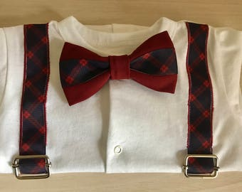 Baby bodysuit with checked bow tie and suspenders