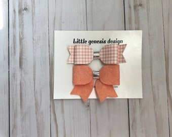 Peach Gingham Set| Faux leather| Felt Fabric