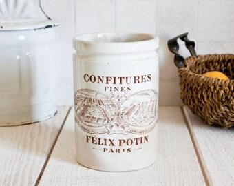 Antique French FELIX POTIN Stoneware Jam Jar || Pottery Storage - Vintage Farmhouse Home Decor - French Kitchenware