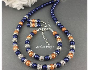Bridesmaid Gift Navy Necklace Orange Necklace Navy Wedding Orange Wedding  Bridal Party Jewelry Gift for Her Maid of Honor Gift Idea