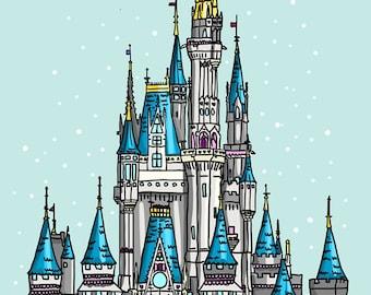 Disneyland Castle - Cinderella's Castle - A4 Art Print by Hungry Designs