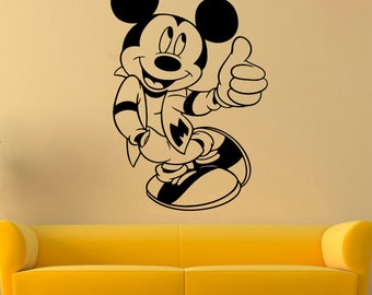 Mickey Mouse Wall Decal Mickey Mouse Vinyl Sticker Cartoon Wall Decals Wall Vinyl Decor /3adg/